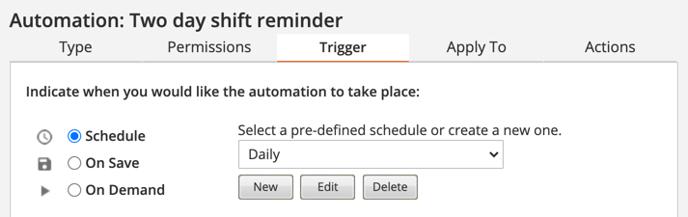 Trigger 2 day shift